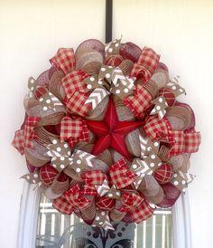 "22"" Burgundy and Tan/Cream Burlap Deco Mesh Wreath with Tin Star"