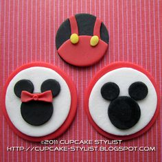 MICKEY and MINNIE MOUSE Edible Fondant Cupcake Toppers