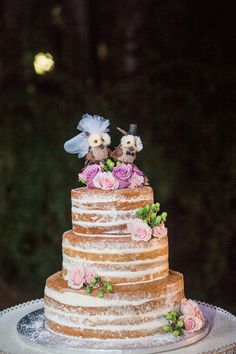 Eclectic naked wedding cake & topper   Jillian Joseph Photography