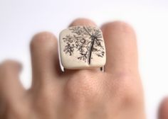Porcelain ring with impression of Queen Anne's Lace.. $29.00, via Etsy.