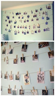 LOVE this idea, currently on the lookout for a good but cheap polaroid picture printing place. Will probably do this with clothes pegs just below the NY poster. Until then, I've ordered 10 photos which I'll probably stick below the bookshelf.