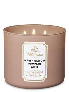 Cinnamon Spiced Vanilla Candle - White Barn - Marshmallow Pumpkin Latte Candle by Bath & Body Works - Bath Candles, Mini Candles, 3 Wick Candles, White Candles, Scented Candles, Candle Jars, Homemade Candles, Pumpkin Candles, Bath Body Works