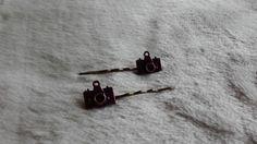 Pruple Camera Hair pin , photo camera Hair bobby pin ,   bronze Hair clip by MetalmanEd on Etsy