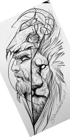 Tattoo Stencil Designs, Half Sleeve Tattoo Stencils, Tattoo Design Drawings, Art Drawings Sketches, Tattoo Sketches, Warrior Tattoo Sleeve, Wolf Tattoo Sleeve, Sleeve Tattoos, Lion Tattoo
