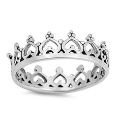 Silver Hearts Crown Sterling Silver Band Ring Size 4-10 #Unbranded #CrownRing
