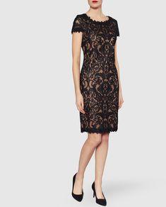 Vestido de mujer Gina Bacconi con bordado en negro