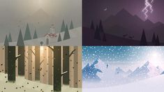Artwork concepts for the dynamic weather and lighting system in Alto's Adventure: