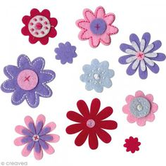 Formas de fieltro Flores - 10 unidades - Fotografía n°1