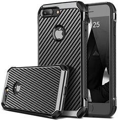 For iPhone 7 Plus Shockproof Carbon Fiber Armor Case Bumper Cover Hard PC Black