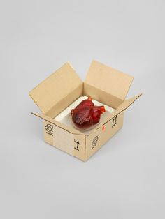 Robert Gober, Heart in a Box, 2014–2015 – Corrugated aluminum, cast glass, paper, plaster, and ink, 16.5 × 26.7 × 29.7 cm