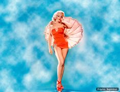 Marilyn Monroe con paraguas | Wallpaper pin-up
