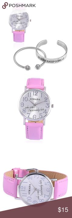 Watch Ladies Austrian Crystal with Pink Band New in Box    STRADA Watch Ladies Austrian Crystal with Pink Band and Set of 2 Cuffs in Silvertone  Remove Before Washing Hands  Don't Submerge into Water  Quartz Movement with Analog Display  Bundle and Save Make Offers STRADA Accessories Watches