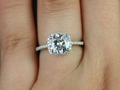 1000+ ideas abo... 1 Carat Cushion Cut Halo Engagement Ring