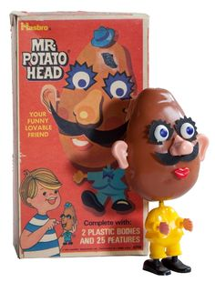 If you were born in 1964, you never had a REAL potato for the head of Mr. Potato Head - in 1964, Hasbro came out with the first PLASTIC head for old Mr. Potato Head! No more smelly, spouting potatoes to be found in toy chests across the US anymore! I was born in 1963 and when my mom said that they used REAL vegetables with their's,  my 4 year old self accused her of lying.