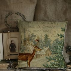Vintage French Deer Christmas Tree Postal Document Theme Burlap Cotton Linen Throw Pillow with Down Feather Insert. $110.00, via Etsy.