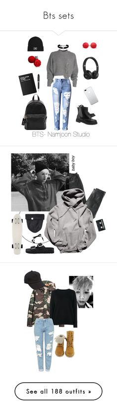 """""""Bts sets"""" by chloediamonds ❤ liked on Polyvore featuring French Connection, Various Projects, Vans, Dr. Martens, Kenneth Jay Lane, Beats by Dr. Dre, Killstar, TrackR, The Kooples and Norse Projects"""