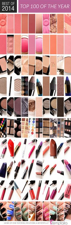 Thanks for the fun, 2014! Here is a wrap-up in case you missed any of the top 10 lists this year, which doubles as my top 100 beauty products that I tried