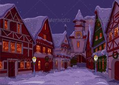 Christmas Town   #GraphicRiver         Christmas town street at night. EPS 8…