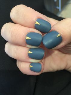Matte blue grey nails with gold  staff accents