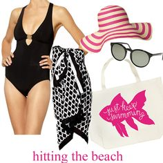 """Love this poolside outfit:  black trina turk swimsuit, black with white quatrafoil wrap/sarong, fuschia and white stripe beach hat and the cutest """"just keep swimming"""" beach bag."""