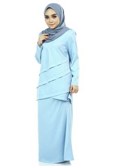 Liany Kurung With Layer Flare from Ashura in Blue Liany Kurung With Layer Flare from Ashura in Blue Top -Round neckline with center front zipper -Layers flare with iron on diamond detailing -Basic sle... Mermaid Silhouette, Blue Tops, Flare, Layers, Neckline, Iron, Zipper, Diamond, Skirts