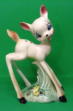 Rare Vintage Deer Bambi Porcelain Ceramic Figurine / Large Statue  marked Japan