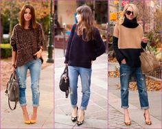 SO me these could BE me:) comfy & adorable.  boyfriend jean-oversized sweater-high heals