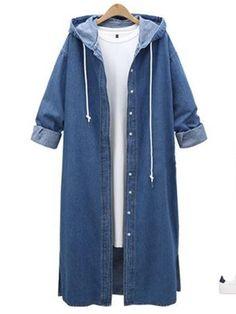 Plus Size Women Lady Hooded Jacket Denim Jeans Outwear Sweatshirt Long Coat AU