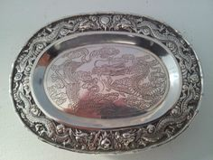 Chinese Export Silver letter tray with dragons by Tuck Chang. Chinese export silver tray with dragon border and dragon engraved centre. Size 8.25 x 6 inches. Weight 4.68 oz.