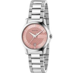 GUCCI YA126524 G-Timeless stainless steel watch ($805) ❤ liked on Polyvore featuring jewelry, watches, pink, gucci, gucci jewelry, gucci watches, pink jewelry and water resistant watches