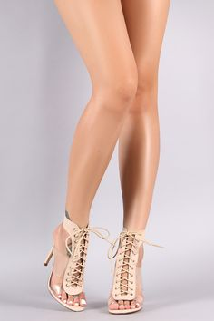 Liliana Transparent Sides Lace-Up Open Toe Stiletto Heel Sexy Legs And Heels, Hot Heels, Sexy High Heels, Clear Strap Heels, Killer Legs, Sexy Sandals, Ankle Shoes, Women Legs, Ankle Straps