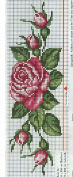 This Pin was discovered by Kad Cross Stitching, Cross Stitch Embroidery, Embroidery Patterns, Cross Stitch Rose, Cross Stitch Flowers, Silk Ribbon Embroidery, Hand Embroidery, Cross Stitch Designs, Cross Stitch Patterns