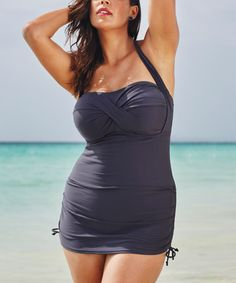 Look what I found on #zulily! Gray Tropiculture Halter Skirted One-Piece - Plus Too #zulilyfinds
