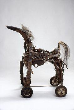 "Mari Skarp  ""Rocking Horse"", 2008  Welded steel, found objects, wire, wood, horse hair"