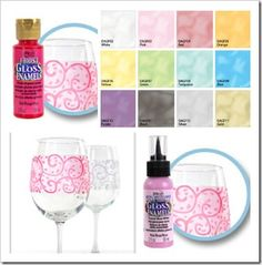 Deco Art Frost Paint and a tutorial to make stencil frosted martini glasses