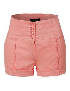 LE3NO Womens Lightweight Basic High Rise Shorts with Pockets