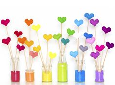 rainbow hearts in vases this is super cute going to have to do this