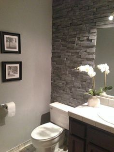 "The ""You'll Never Believe This Isn't Stacked Stone"" Bathroom Makeover — Decorating Project"