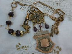 Antique vintage assemblage necklace MY ENGLISH by PennysCastle