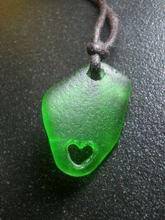 GREEN LOVE - Genuine Go Green Sea Glass Heart Choker