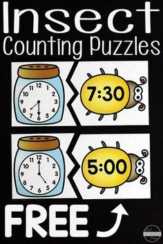 FREE Insect Telling Time Puzzles - these are such a fun way for kids to practice identifying time on a clock to the half hour and hours. Perfect hands on math activity, telling time games, math centers, homeschool, kindergarten math, prek, first grade, grade 1, 1st grade