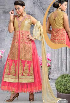 #Readymade #Pink And #Cream #Net #Anarkali #Suit  #nikvik  #usa  #australia  #pakistanisuit #wedding #canada #freeshipping #sale #kasabwork