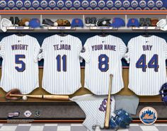 New York Mets MLB Baseball - Personalized Locker Room Print / Picture. Have you or someone you know ever dreamed about playing next to your favorite New York Mets players. You or someone you know can be right there in the locker room with New York Mets players! Optional framing with mat is available. Perfect for gifts, rec room, man cave, office, child's room, etc.   (http://www.oakhousesportsprints.com/new-york-mets-locker-room-print/)