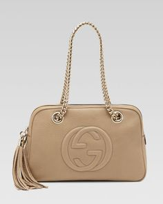 Soho Leather Double-Chain-Strap Shoulder Bag, Cream by Gucci at Bergdorf Goodman.