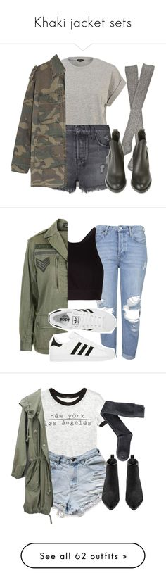 """Khaki jacket sets"" by feathersandroses ❤ liked on Polyvore featuring River Island, Ksubi, Hansel from Basel, Yves Saint Laurent, Acne Studios, Topshop, T By Alexander Wang, adidas, Forever 21 and H&M"