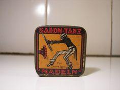 Rare Ad Gramophone Needles Tin 1930s Black Jazz Dancer Phono Nadeldose