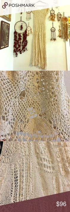 Stunning Vtg 20s crochet gown 70s Jane Birkin lace This dress is not in perfect condition, but it doesnt matter. It's a super delicate 20s crochet gown- that would be a modern day throwback to Jane Birkins style of the 70s. Wear over black under and be confident! The flaws in the lace I tryed best to find and picture, along with the amazing detail work. The vintage store I was working at had it priced at $118. The sizing is pretty open- could hang nicely on a tall xs or fit up to a 6/8…