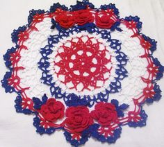 4th of July red white and blue roses crocheted doily by Aeshagirl