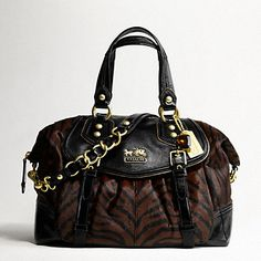 cheap Coach Patent Leather Zebra Calf Hair Black And Brown Satchel  Coach b8c79e17410d5