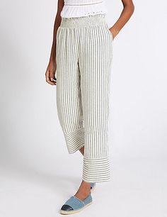 Pure Cotton Striped Slim Cropped Trousers | M&S